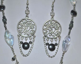 Gray and Silver earrings with hematite