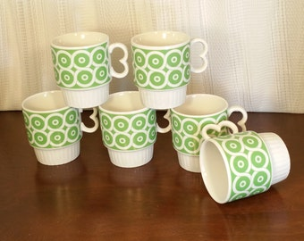 Coffee Mugs MOD Boho (6) Six White Green Geometric Stackable Mid Century Vintage 60s 70s JAPAN