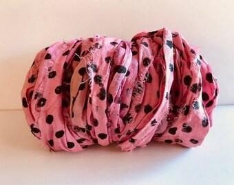 Recycled Silk Sari Ribbon-Pink Polka Dot Sari Ribbon-10 Yards