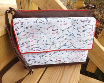 Library Print Crossbody Traverse Bag