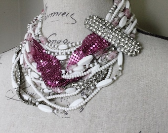 Chunky Hot Pink Mesh and Milk Glass Vintage Assemblage MultiStrand Statement Necklace, Chic Tangled Layers of Beads and Rhinestones