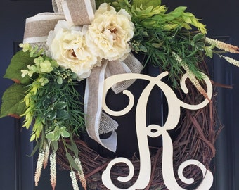 Everyday Wreath - Spring Wreath- Shabby Chic Wreath-Country Cream Peony Wreath - Wreaths- Monogrammed Wreath-Wreath-Summer Wreath - Gifts