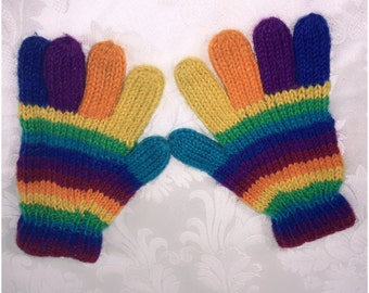 Rainbow Gloves, Hand knit gloves, Crochet gloves, Colorful gloves, Winter gloves, Hand warmers