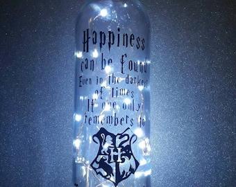 Harry Potter themed upcycled wine bottle christmas birthday gift present