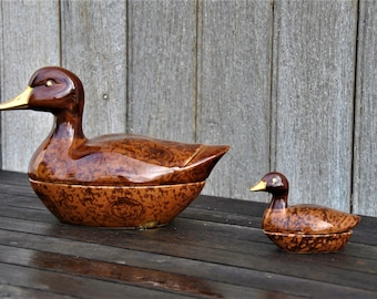 Caugant brown ducks set of two