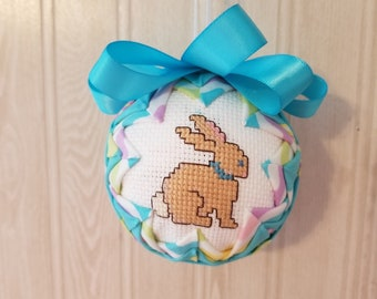 Hand-stitched Rabbit/Easter Egg Fabric Ornament