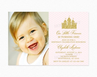 Princess Castle Birthday Party Invitation, Castle, Blush Pink, Gold Glitter, Personalized,  Printable or Printed