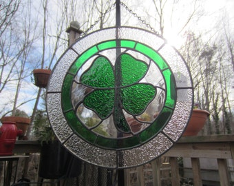 Shamrock, Luck of the Irish Stained Glass Panel