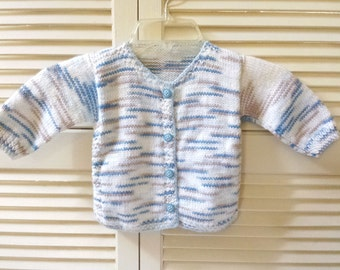 Boys 9 Month Size Knitted Button Up Sweater/ Blue And Brown/ Handmade/ Hand Knit