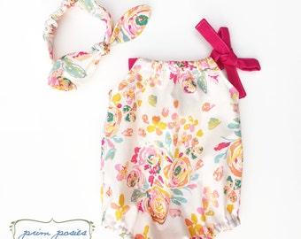 Baby Girl Romper, Baby Girl Gift, Baby Girl Outfit, Baby Romper, Headband Set, Floral Baby Romper, Baby Photo Outfit, Summer Romper