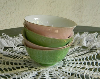 Vintage Pink and Green Rice Bowls Set of 4 Pastel Shabby Chic French Country