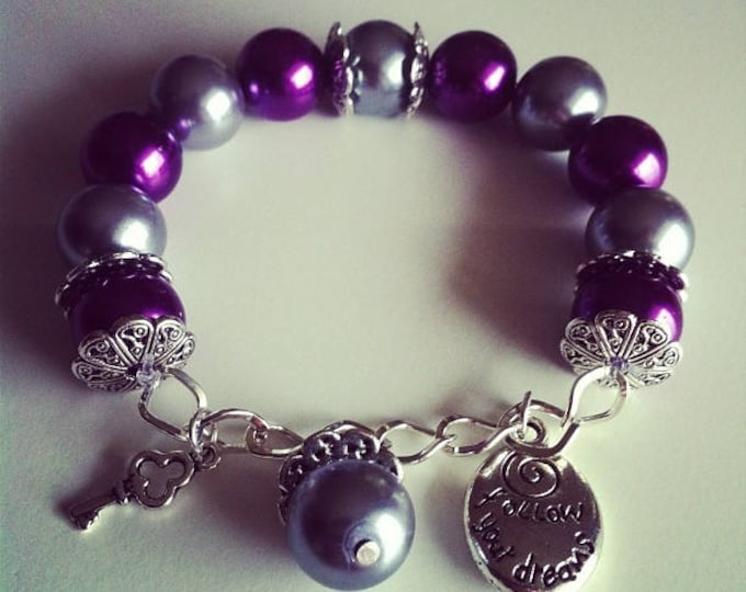 #63 grey purple charm bracelet