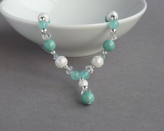 Aqua Stardust Y Necklace - Bridesmaids Jewelry - Mint Green Pearl and Crystal Necklaces - Turquoise and Silver Bridal Party Gifts - Wedding