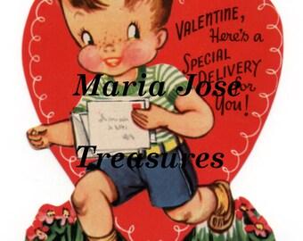Vintage Children Valentine cards Images - Digital Download