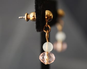 up-cycled pink & white bead earrings
