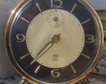 Sweet Antique French Alarm Clock 1960s working mid-century time piece