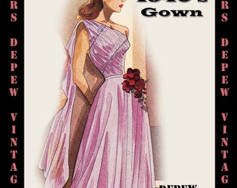 Vintage Sewing Pattern 1940's Evening Gown in Any Size - PLUS Size Included - Depew 4917 -INSTANT DOWNLOAD-