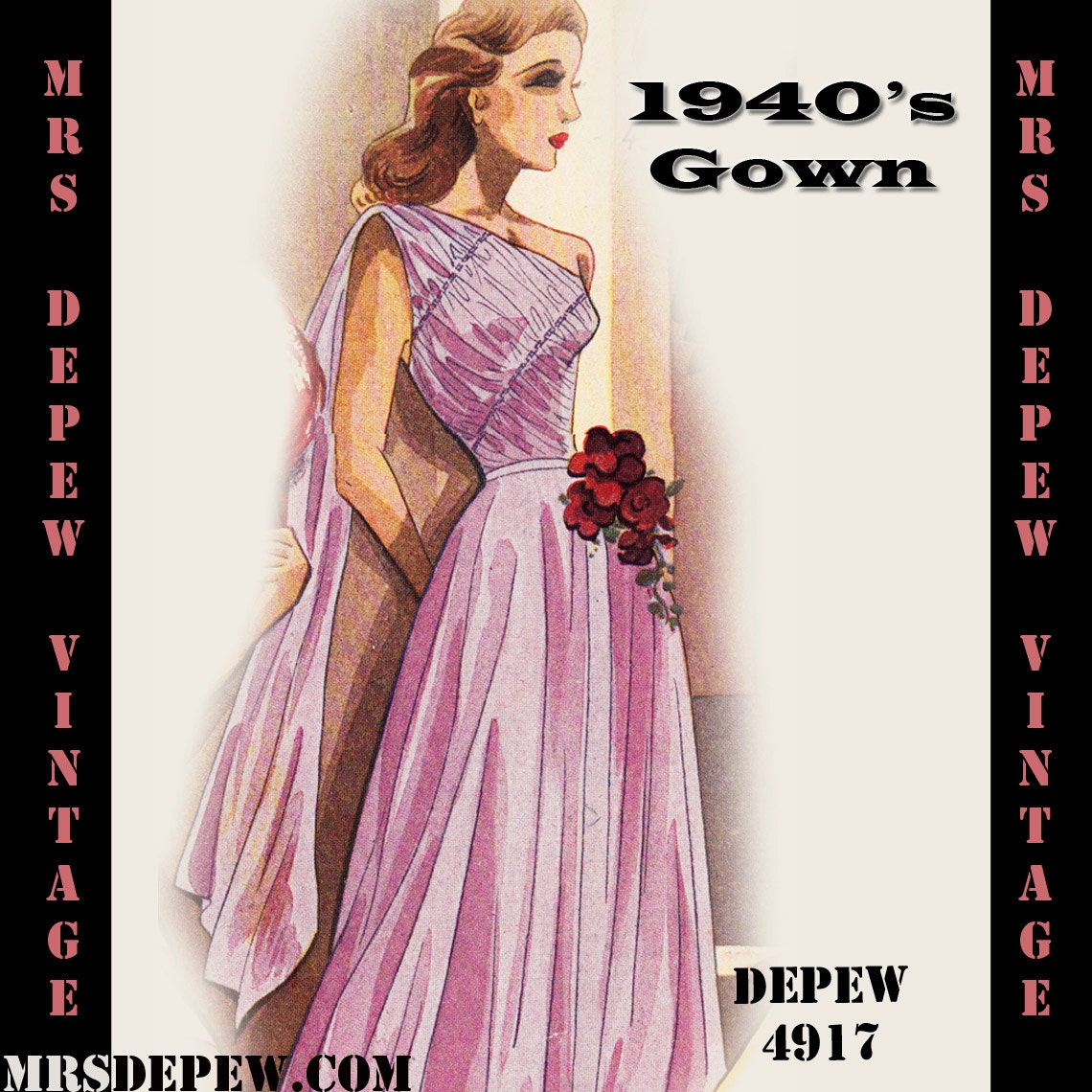 Vintage Sewing Pattern 1940\'s Evening Gown in Any Size