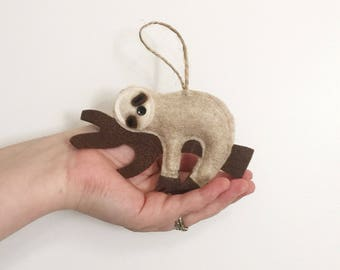 Felt Sleepy Sloth Christmas Tree Ornament