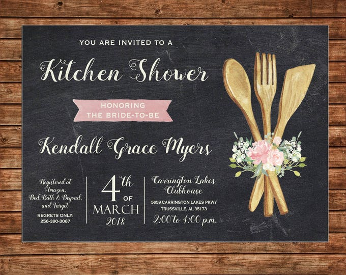 Invitation Watercolor Floral Kitchen Bridal Shower Wedding Party - Can personalize colors /wording - Printable File or Printed Cards
