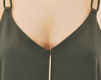Y necklace, gold lariat necklace, long necklace, layered necklace, gold bar necklace, gift for her, gift for mom, simple necklace