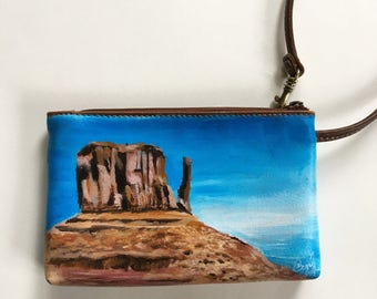 Monument Valley Purse / Hand Painted Coin Purse / Desert, Arizona, Utah, Butte, Mesa Landscape Painting