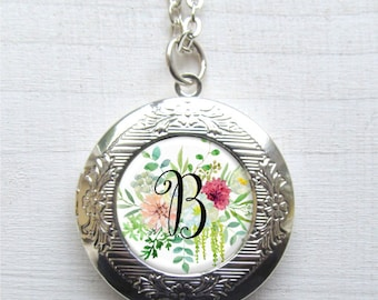 Locket Necklace Personalized - Floral Initial Locket For Her