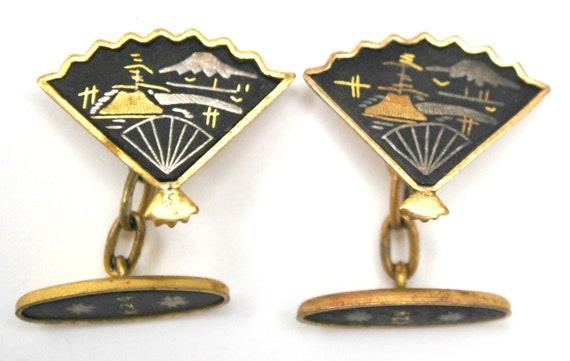 Damascene Japan  Cuff links - gold and Black Etched enameling - Mountain - Mt Fuji    vintage cufflinks