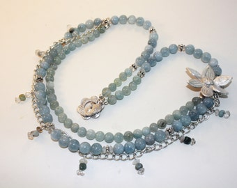 Aquamarine and Metal clay Necklace