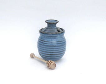 Honey Pot with Dipper - Pacifica Blue Spiral Glaze