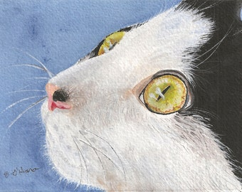 Aceo Tuxedo cat close up painting reproduction print