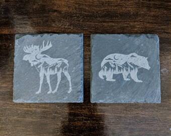Starry Mountain Moose or Bear (or both!) Slate Coaster
