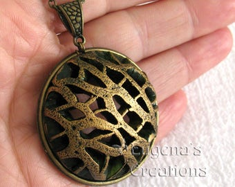 Openwork Pendant, Voronoi-style jewelry, dark green and antique bronze statement necklace, round pendant, one of a kind