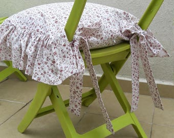 Chair Cushions With Ties Ruffle Linen Chair Cushion Covers   3 Sided  Ruffled  French