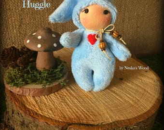 Blue Pocket Huggle - Waldorf Inspired Toy - Valentines - Love