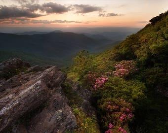 Blue Ridge Parkway Sunset - Mountain Sunset - Blue Ridge Mountains, Craggy Gardens, Craggy, Blue Ridge Sunset