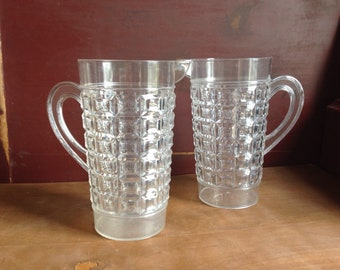 Large Regaline Plastic Pitchers - Crystal Look Pitcher Pair Lemonade Iced Tea Drinkware Vintage Retro Kitsch Barware Kitschy Kitchen USA