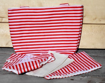 Doll Diaper Set, Doll Diaper Bag - Red and White Stripe