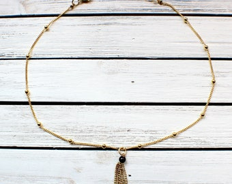 Gold Tassel Necklace- Gold Chain Tassel on Gold Choker