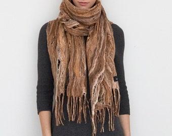 Merino wool scarf,  handmade wrap, felted shawl, Cobweb Felt Scarf, in brown, wool, silk, tussah, one of a kind Custom, fringe