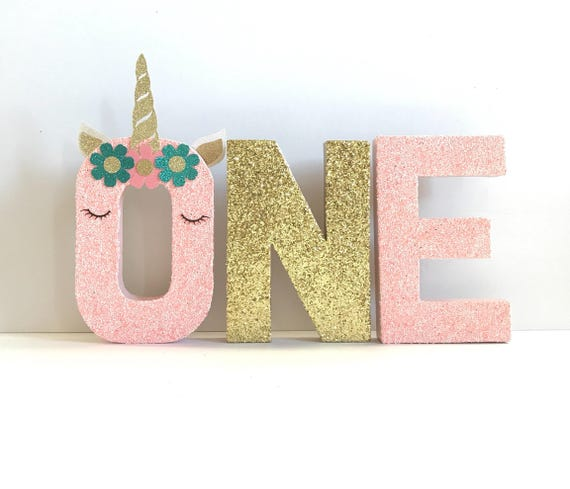 Glitter Unicorn Stand Up ONE Letter Sign First
