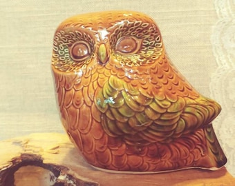 Vintage Majolica Style Owl Piggy Bank (C2)