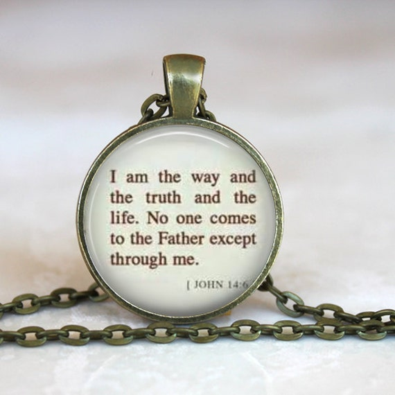 Bible Verse Necklace with chain included, Christian Jewelry -  Bible Verse JOHN 14 I AM the Way the Truth and the Life