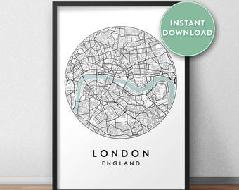 London City Print Instant Download, Street Map Art, London Map Print, City Map Wall Art, London Map, Travel Poster, England, UK