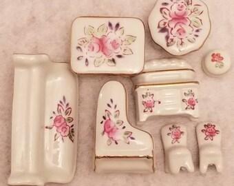 Vintage Miniature White Porcelain trimmed in Gold Set