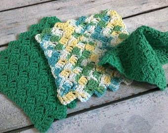 Crochet Wash Cloths - Set of 3 - Ready to Ship
