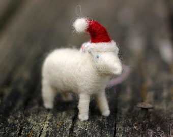 Santa Lamb - Needle Felted Sheep Christmas Ornament
