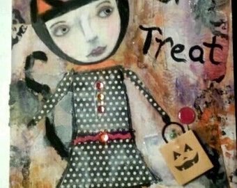 Trick or Treat Halloween mixed media decor on wood. Halloween cat decor. Mixed media folk art. Mixed media collage.