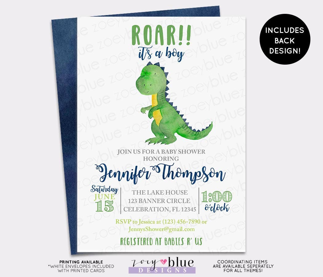 Dinosaur Baby Shower Invitation Trex Watercolor Baby Shower