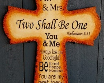 Two Shall Be One Cross, Finished, Streaked, Stained, MDF
